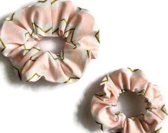 Pink gold chevron scrunchies, shabby chic scrunchy, mother daughter set, wedding accessories chic, child girl adult woman scrunchie gift set