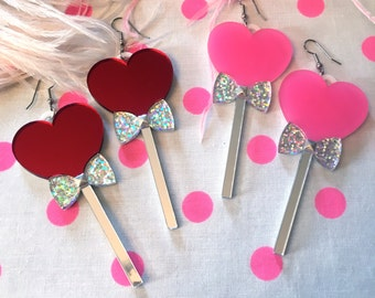 Lollipop Hearts Candy Earrings, Pink or Red, Laser Cut Acrylic, Plastic Jewelry