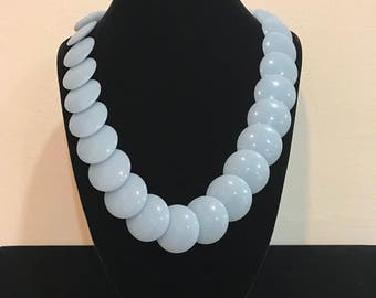 Vintage Trifari Blue and Silver disk necklace