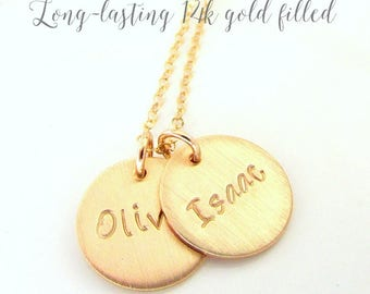 Gold Name Charm Necklace | Personalized Mothers Necklace | Custom Gold Charms | Hand Stamped by Eriadesigns