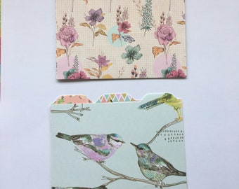 6 Handmade floral mini A6 file dividers