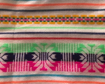 Mexican Fabric  Ethnic Mexican Colorful Bright Orange Cambaya Woven Fabric Yard Tribal Mexican Fabric