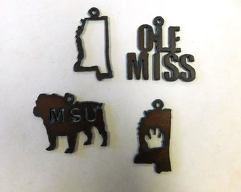 ole miss  (3) metal charm