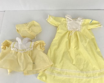 Cabbage Patch Kids Doll Clothes Yellow Dress with Bonnet and Long Nightgown