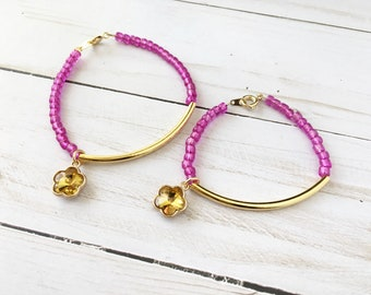 Mother and daughter matching bracelets - mom and me bracelets - mommy and me jewelry - matching charm bead bracelets