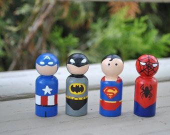 Super Hero Peg Doll Set, Stocking stuffers