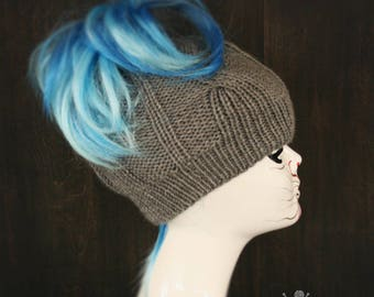 Knitted Messy bun Ponytail hat beanie - Cable knit tail winter hat beanie womens accessory acrylic warm light grey