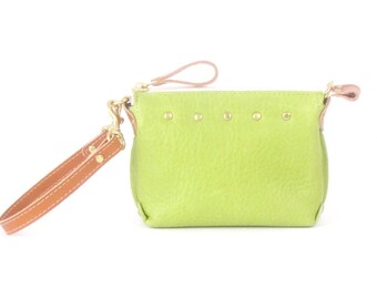 Green Leather Mini Bag ~ Spring Green Leather Wristlet