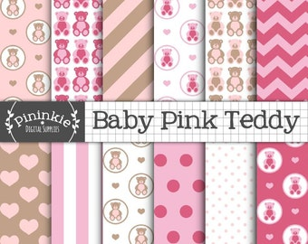 Pink Teddy Bear Digital Paper, New Baby Girl Digital Paper, Pink Digital Scrapbook Paper, Instant Download, Commercial Use