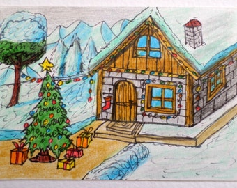 Christmas art print -aceo drawing print of a winter cottage house and a christmas tree- winter art print