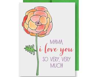 Happy Mother's Day Card - I Love You, Mom - Hand-Illustrated Orange Flower