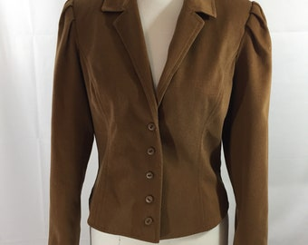 80s Collage Town Blazer Jacket Size S/M Fully Lined Fitted Puff Sleeve