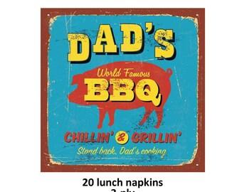 serviettes de table barbecue de papa, d'inspiration vintage, idées de fête des pères, barbecue célèbre monde, soirée d'été, jardin, décorations de pique-nique, famille, cochon