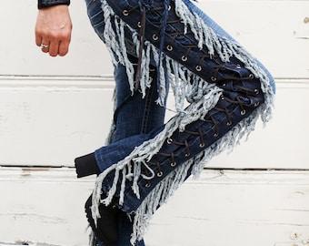 Komondor Style side Lace ups on a Vintage Bluue Jeans
