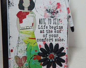 Note to Self: - Altered Composition Notebook / Journal