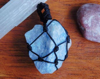 Blue Lace Agate Knot Tied Necklace