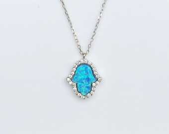 Opal Hamsa Necklace • 925 Sterling Silver • Safe to Get Wet • For Good Luck and Protection