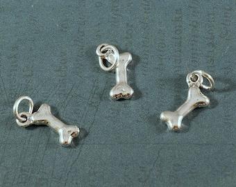 Dog Bone Charm - Sterling Silver Dog Bone Charm - 15x6mm - Sold Per Piece
