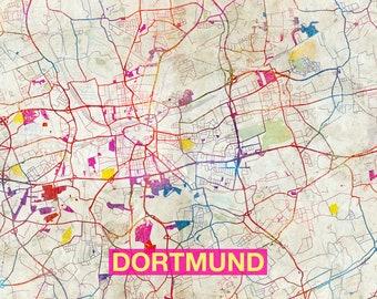 Dortmund map Etsy