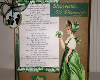 Handmade St. Patrick's Day card, 'Shamrock Oh Shamrock'  poem by Moore,antique,fancy, Irish girl,embellished,keepsake,Irish harp traditional