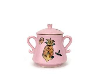 Vintage Small Pink Sugar Bowl Double Handled with Lid // Hawaiian Tropical Pineapple Island Decor // Coffee Tea Service // Kitsch Kitchen