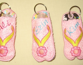 Flip Flop Keychain Lipstick or Chapstick holder Great gift for teachers friends family. Hang from backpack, purse, etc. Personalize!