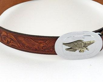 Vintage Tooled Leather Belt - Vintage tooled leather belt  with name Kent Silver Creek Metal eagle on belt Brown Leather belt - SM A