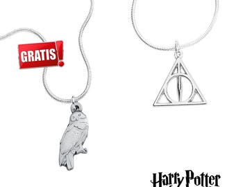 Deathly Hallows necklace + Hedwig necklace from Harry Potter