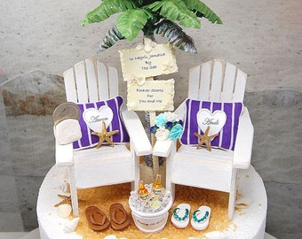 """RUSTIC BEACH WEDDING Cake Topper No Base Fits 6""""Top! Your Colors! Personalized Adirondack Chairs/Custom Beverage/Sign/Bouquet/More!Handmade"""