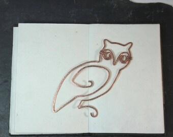 Copper wire owl bookmark - bird bookmark, copper wire owl -  ideal gender neutral gift