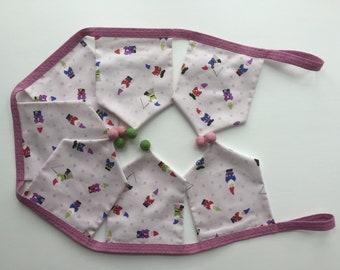 Gnome Print Fabric Bunting