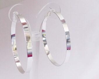 Classic Hoop Earrings Thick cast Shiny Rhodium Plated Silver Tone Hoop Earrings 2 Inch Hoop Earrings
