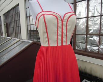 Vtg Corset Cream 'n Coral Fitted Pleated Bustier Sun Dress Tank Dress Medium Small 50's Style 90's