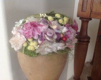 SOLD***SOLD***SOLD***Gorgeous antique pink flowered shabby chic women's millinery hat