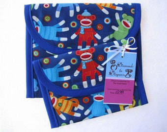 Retro Sock Monkey Lunch Bag Set of 2 - Snack and Sandwich Size