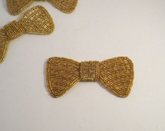Gold Heavily Beaded Bow Design Applique--One Piece