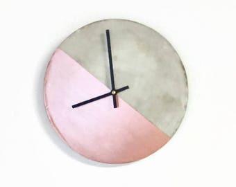 Concrete Wall Clock, Gray Cement Rose Gold Wall Decor