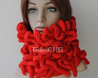 Handmade Knit Chunky Medusa Scarf Thick Cowl, Gift Idea, Etsy Gifts