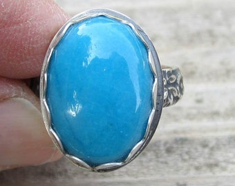 Native American Inspired Blue Howlite Silver Ring - Size 8-1/4