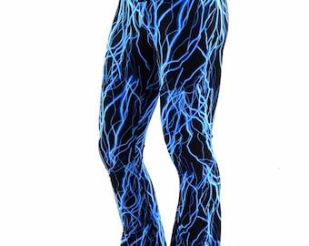 Mens Neon UV Glow Blue Lightning Bootcut Spandex Pants Rockstar Rave Festival Yoga Leggings -152366
