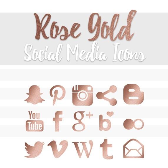 Rose Gold Social Media Icons