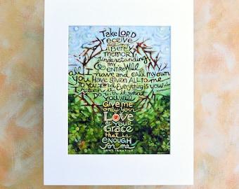 Saint Ignatius, Take Lord Receive Art Print, Suscipe prayer, Confirmation