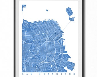 SAN FRANCISCO Map Art Print / California Poster / San Francisco Wall Art Decor / Choose Size and Color