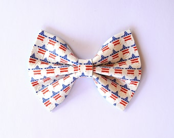 Star Spangled Leather Baby Headband Bow for Newborn Baby Child Little Girl Adult Red Navy Adorable Photo Prop 4th of July Star Bow Clip