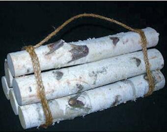 White Birch Firewood Bundle - Decorative | 6 Birch Log Bundle | Decorative Fire Bundle