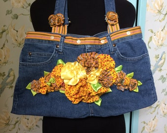 Fabric Flower Shabby Chic Handbag