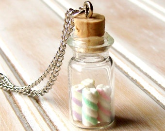 Miniature Food Candy Necklace - Glass Jar of Sweet Marshmallow Twists
