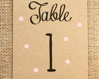 Pastel Polka Dot Table Number Card