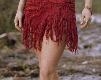 Tarazan Skirt (Ruby Red) - Festival Clothing Sexy Fairy Hippie Boho Goa Pixie Gypsy Bohemian Skirt with Pocket Crochet with Belt