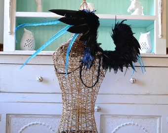 Feather Wings Black Faerie Wings Raven and Turquoise Made to Order